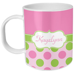 Pink & Green Dots Plastic Kids Mug (Personalized)