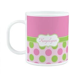 Pink & Green Dots Plastic Kids Mug (Personalized)