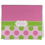Pink & Green Dots Kitchen Towel - Full Print (Personalized)