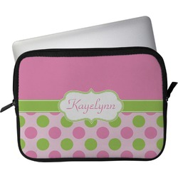 """Pink & Green Dots Laptop Sleeve / Case - 12"""" (Personalized)"""