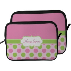 Pink & Green Dots Laptop Sleeve / Case (Personalized)