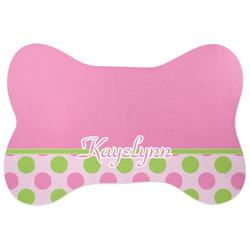 Pink & Green Dots Bone Shaped Dog Food Mat (Large) (Personalized)