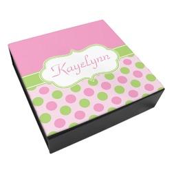 Pink & Green Dots Leatherette Keepsake Box - 3 Sizes (Personalized)