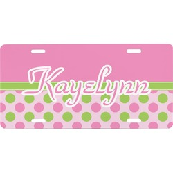 Pink & Green Dots Front License Plate (Personalized)