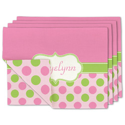 Pink & Green Dots Linen Placemat w/ Name or Text