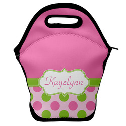 Pink & Green Dots Lunch Bag w/ Name or Text