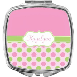 Pink & Green Dots Compact Makeup Mirror (Personalized)