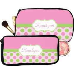 Pink & Green Dots Makeup / Cosmetic Bag (Personalized)