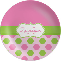 Pink & Green Dots Melamine Plate (Personalized)