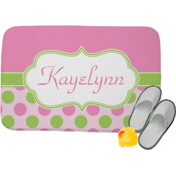 Pink & Green Dots Memory Foam Bath Mat (Personalized)
