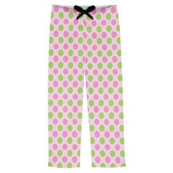 Pink & Green Dots Mens Pajama Pants (Personalized)