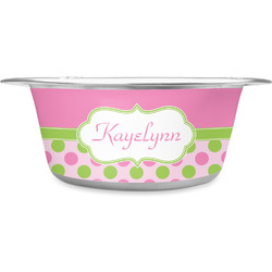 Pink & Green Dots Stainless Steel Pet Bowl (Personalized)