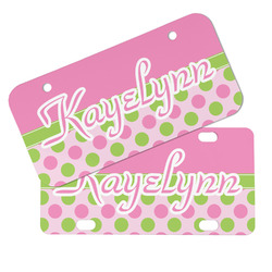 Pink & Green Dots Mini/Bicycle License Plates (Personalized)
