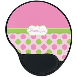 Pink & Green Dots Mouse Pad with Wrist Support