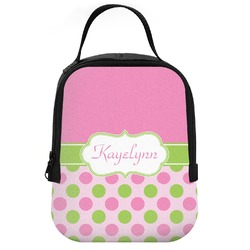Pink & Green Dots Neoprene Lunch Tote (Personalized)