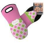 Pink & Green Dots Neoprene Oven Mitt (Personalized)
