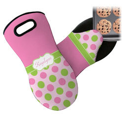 Pink & Green Dots Neoprene Oven Mitt (Personalized)