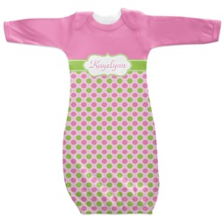 Pink & Green Dots Newborn Gown (Personalized)