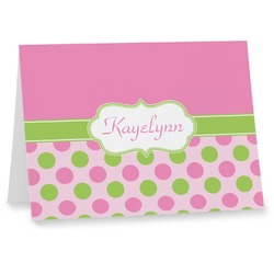 Pink & Green Dots Note cards (Personalized)