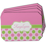 Pink & Green Dots Dining Table Mat - Octagon w/ Name or Text