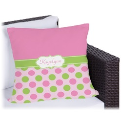 "Pink & Green Dots Outdoor Pillow - 20"" (Personalized)"