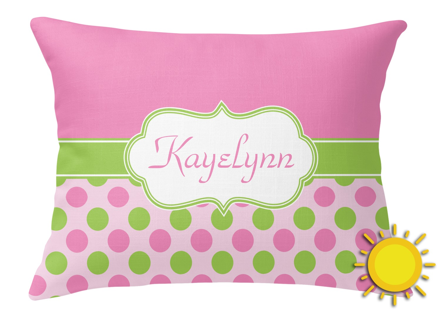 Hot Pink Outdoor Throw Pillows : Pink & Green Dots Outdoor Throw Pillow (Rectangular) (Personalized) - YouCustomizeIt