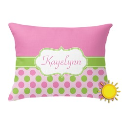 Pink & Green Dots Outdoor Throw Pillow (Rectangular) (Personalized)