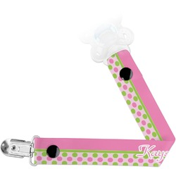Pink & Green Dots Pacifier Clips (Personalized)