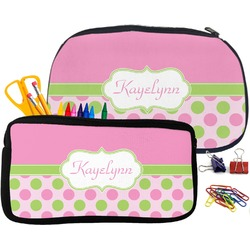 Pink & Green Dots Pencil / School Supplies Bag (Personalized)