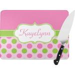Pink & Green Dots Rectangular Glass Cutting Board (Personalized)