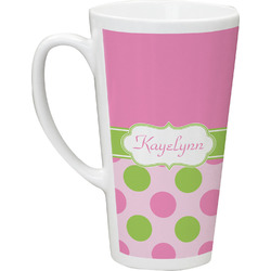 Pink & Green Dots Latte Mug (Personalized)
