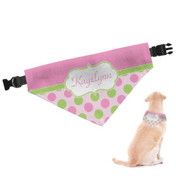 Pink & Green Dots Dog Bandana (Personalized)