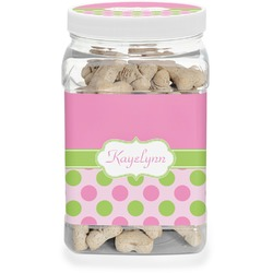 Pink & Green Dots Dog Treat Jar (Personalized)