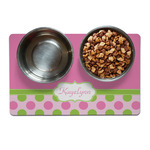 Pink & Green Dots Pet Bowl Mat (Personalized)