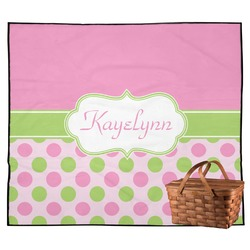 Pink & Green Dots Outdoor Picnic Blanket (Personalized)