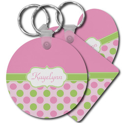 Pink & Green Dots Plastic Keychains (Personalized)