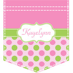 Pink & Green Dots Iron On Faux Pocket (Personalized)