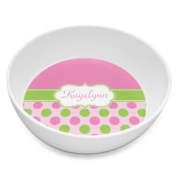 Pink & Green Dots Melamine Bowl 8oz (Personalized)