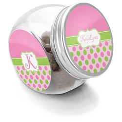 Pink & Green Dots Puppy Treat Jar (Personalized)