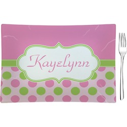 Pink & Green Dots Glass Rectangular Appetizer / Dessert Plate - Single or Set (Personalized)