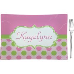 Pink & Green Dots Glass Rectangular Appetizer / Dessert Plate - Single or Set (Personalized)