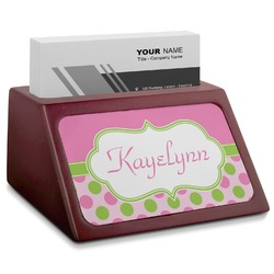 Pink & Green Dots Red Mahogany Business Card Holder (Personalized)