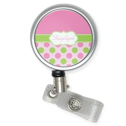 Pink & Green Dots Retractable Badge Reel (Personalized)