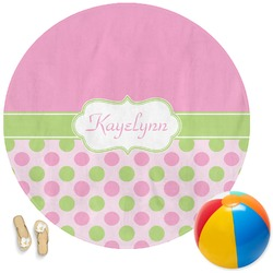 Pink & Green Dots Round Beach Towel (Personalized)