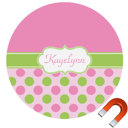Pink & Green Dots Round Car Magnet (Personalized)