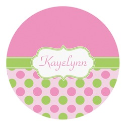 Pink & Green Dots Round Decal - Custom Size (Personalized)