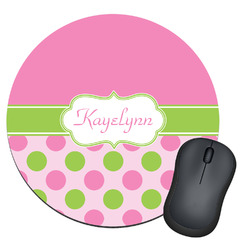 Pink & Green Dots Round Mouse Pad (Personalized)