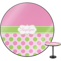 """Pink & Green Dots Round Table - 24"""" (Personalized)"""