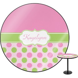 Pink & Green Dots Round Table Top (Personalized)