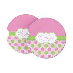 Pink & Green Dots Sandstone Car Coasters (Personalized)